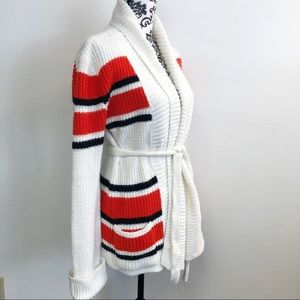70s cardigan M striped red black long Sears belted